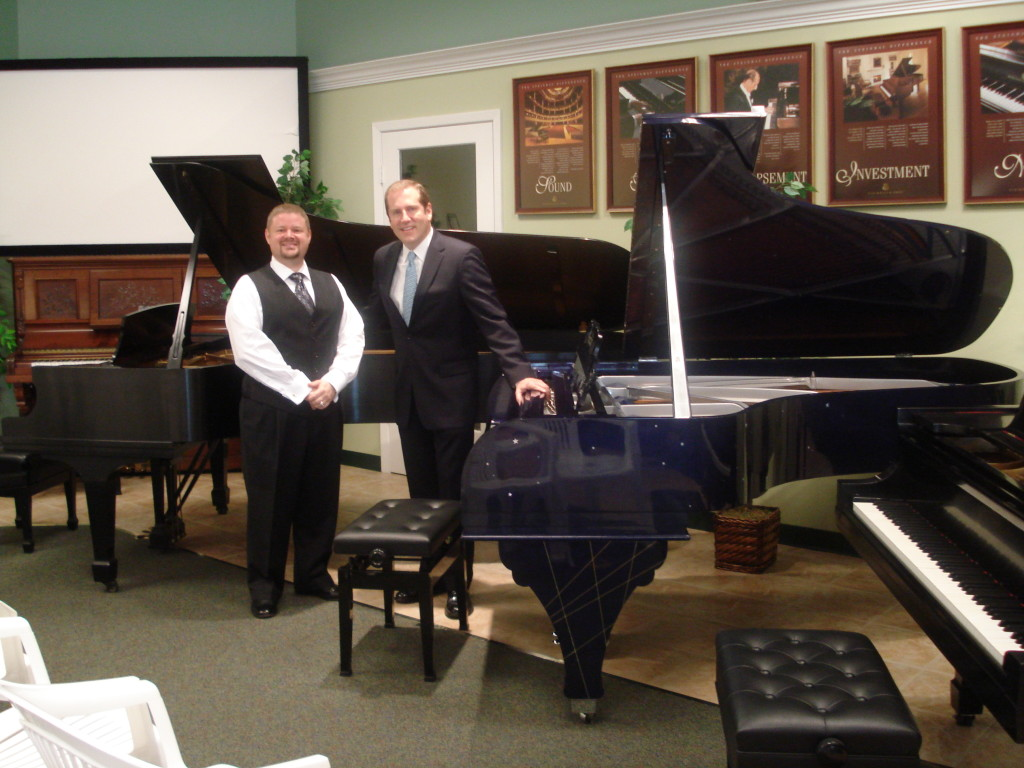Steve Kinchen, Owner of Hall Piano Company with Steinway Artist Richard Dowelling at the Gershwin Rhapsody piano